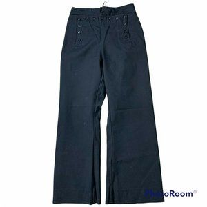 Vintage Navy Issued Sailor Wool Bell Bottom Black Pants Trouser Unisex Size 31